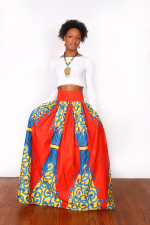 Adesuwa African Print Maxi Skirt (Red/Yellow) - Oludan