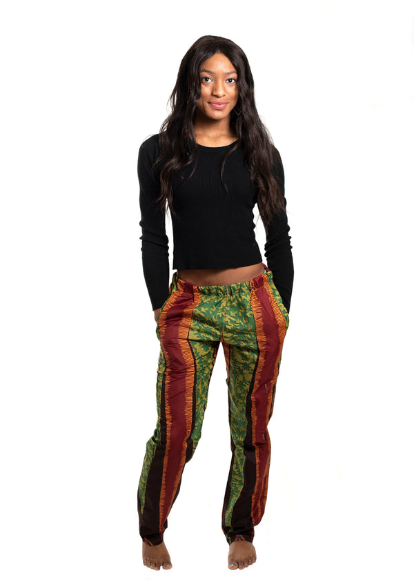 African Print Uwaila Striped Pants (Green/Brown) - Oludan