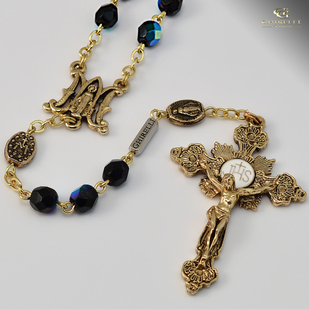 Miraculous Medal gold plated Rosary