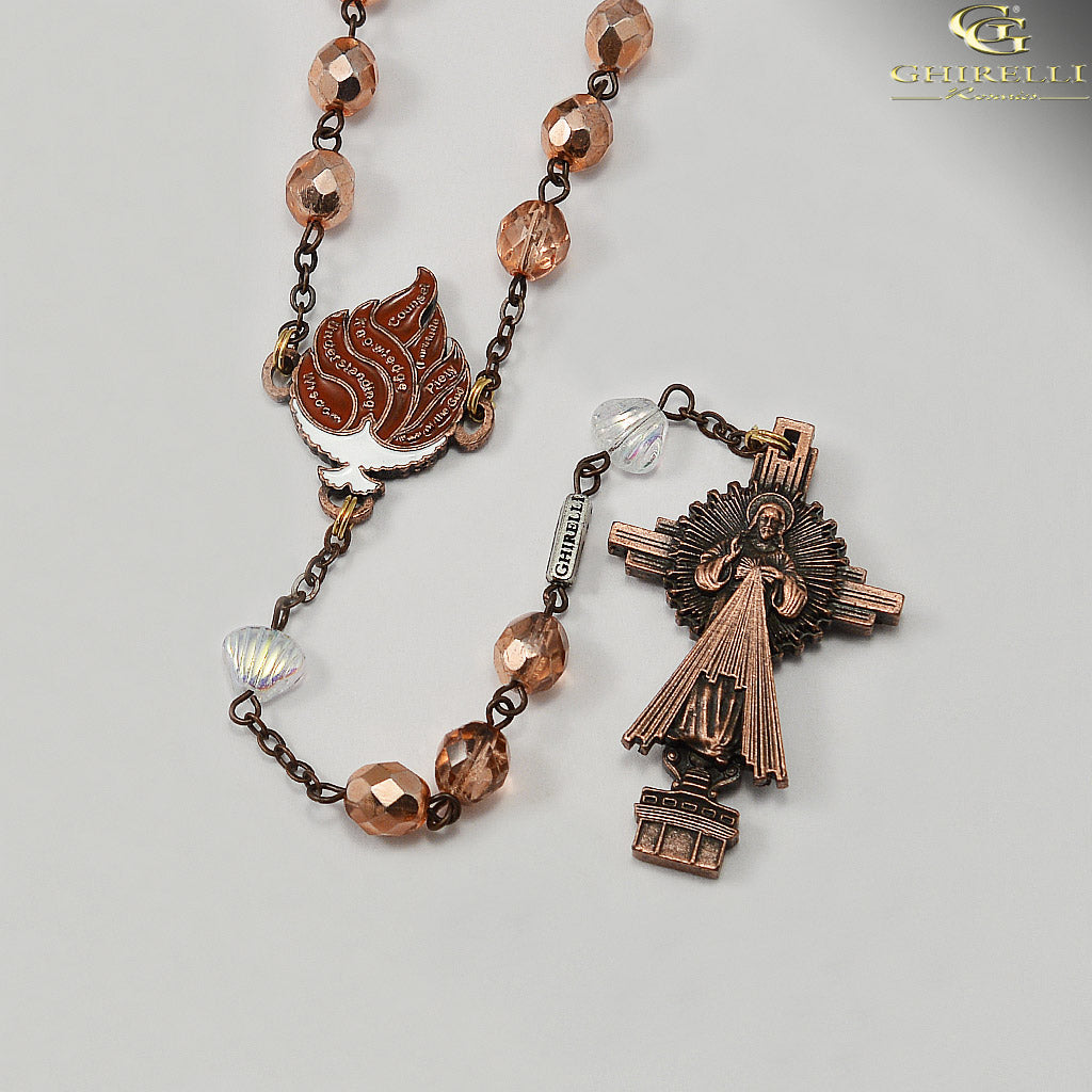 RCIA Rosary with Bohemian Glass in Antique Copper by Ghirelli