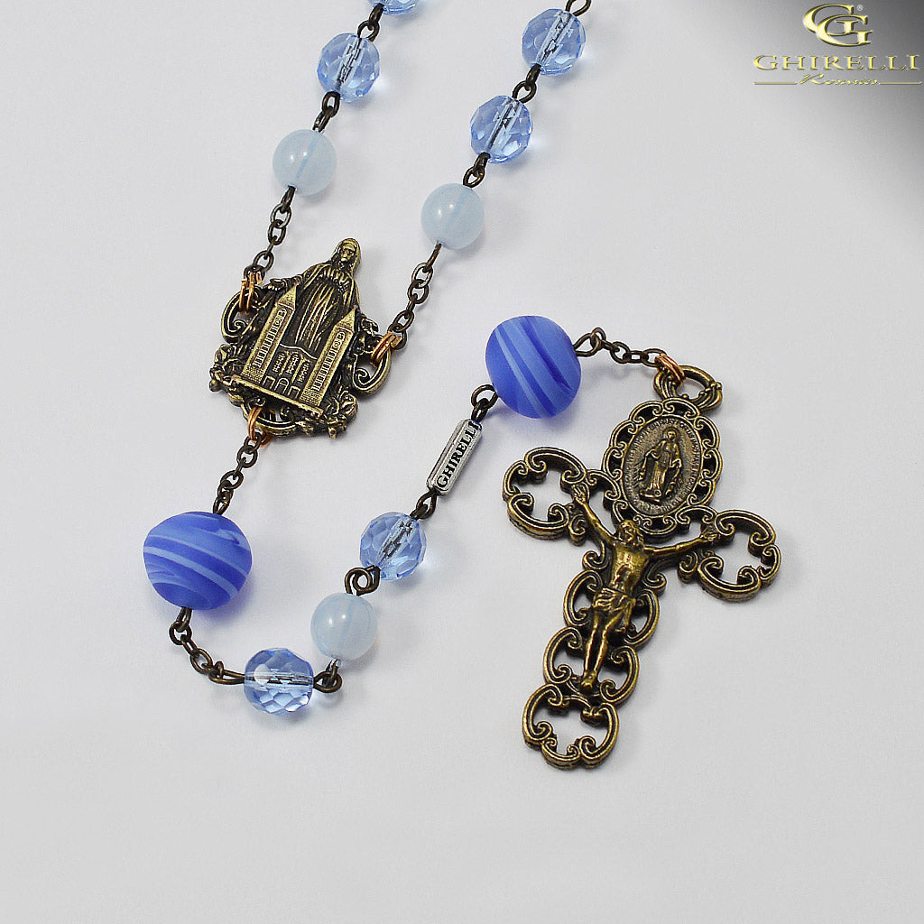 Medjugorje Queen of Peace Rosary with Genuine Murano Beads by Ghirelli