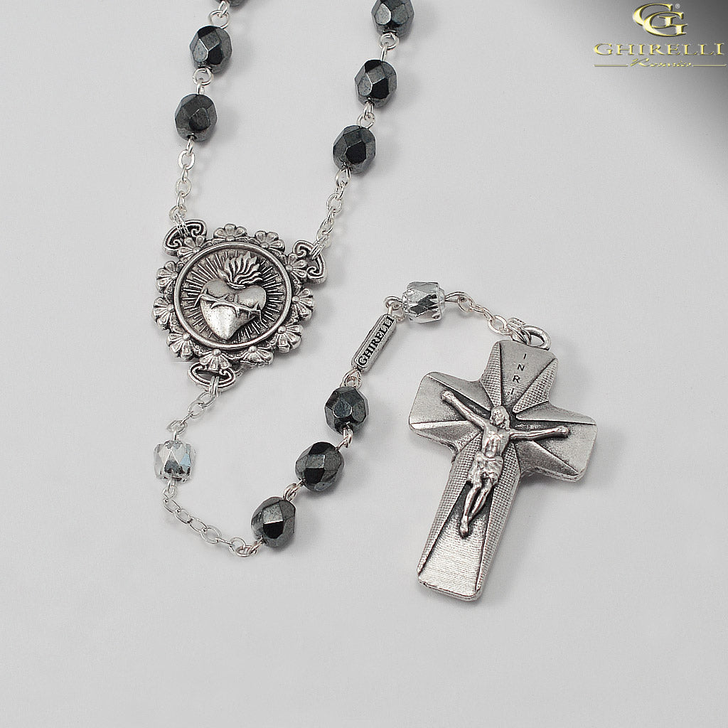 Rosaries for Men in Antique Silver with Faceted Beads by Ghirelli
