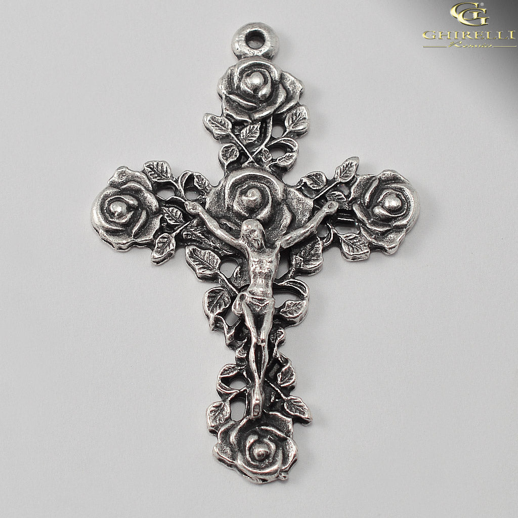 Saint Thérèse of Lisieux Rosary in Antique Silver by Ghirelli