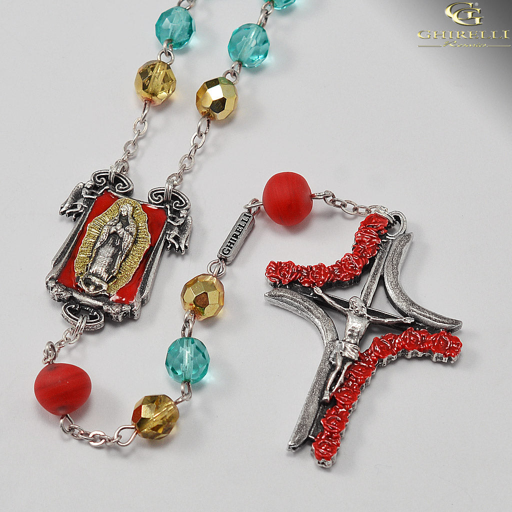 Our Lady of Guadalupe Rosary with Genuine Murano Glass by Ghirelli