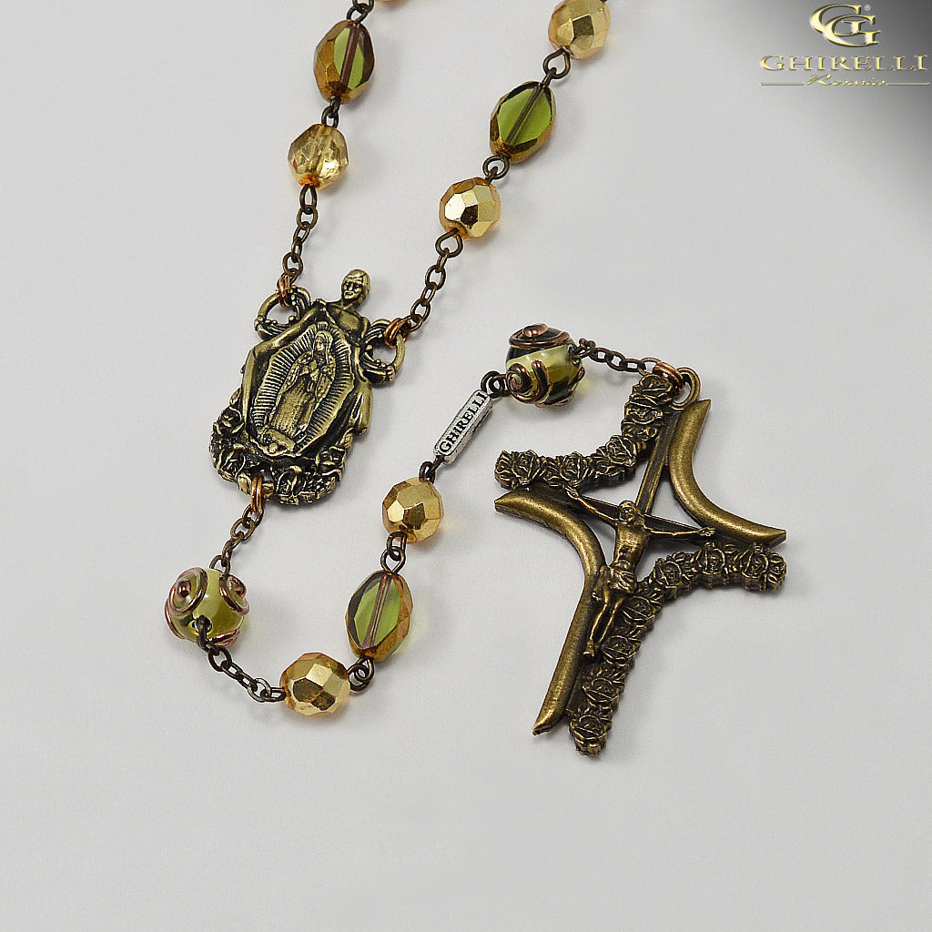 Our Lady of Guadalupe Rosary with Lumen Glass Beads by Ghirelli