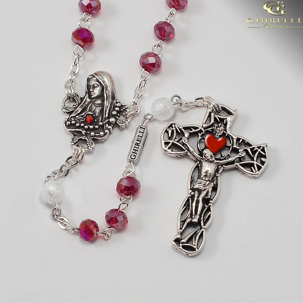 Our Lady of Fatima Rosary with Bohemian Glass Beads by Ghirelli