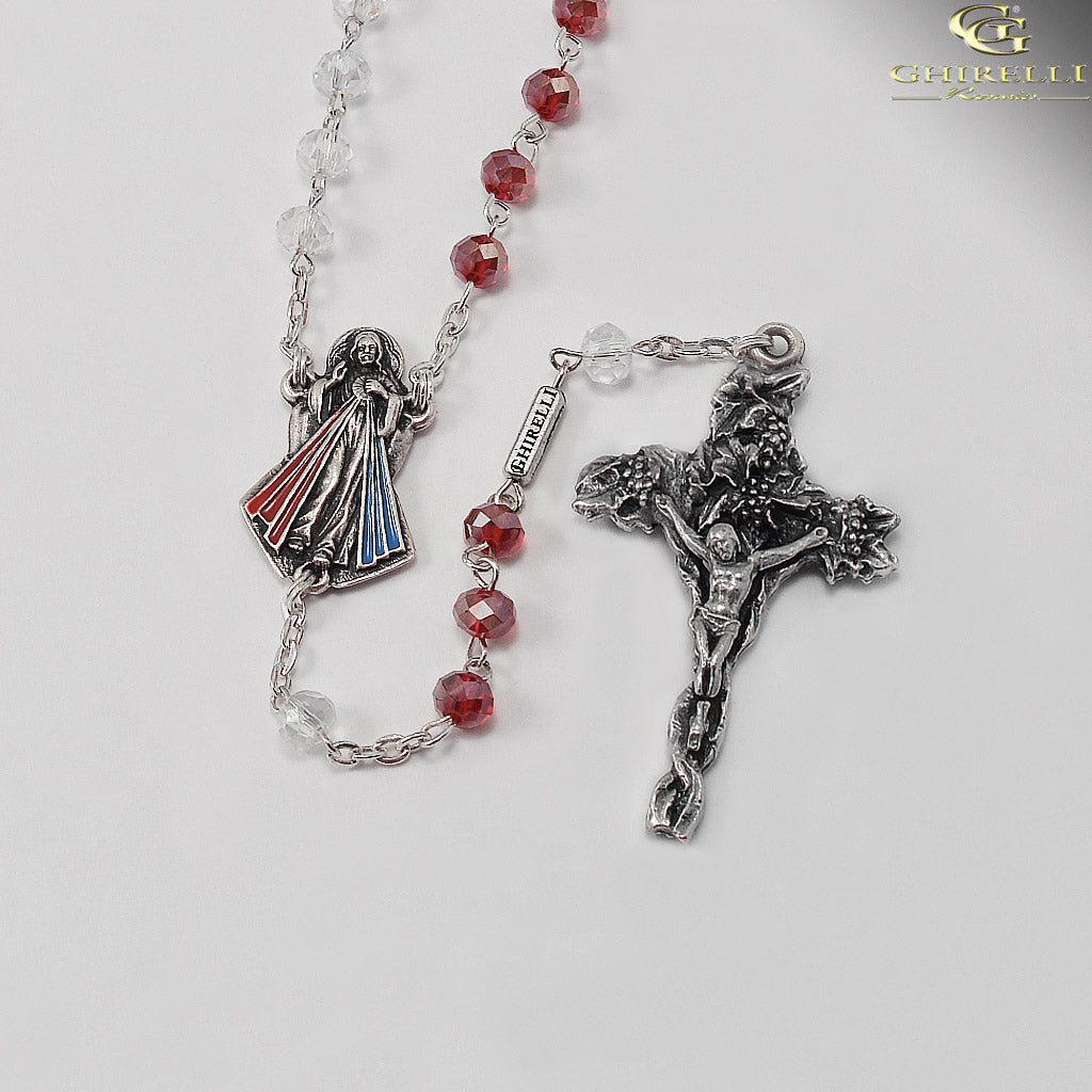 Divine Mercy Rosary with faceted Bohemian Glass by Ghirelli