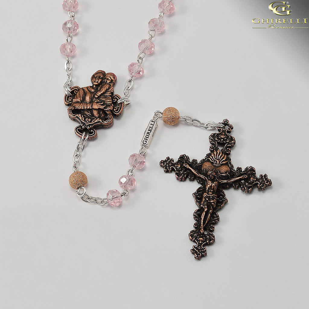 Saint Gianna Beretta Molla Rosary in Antique Copper by Ghirelli
