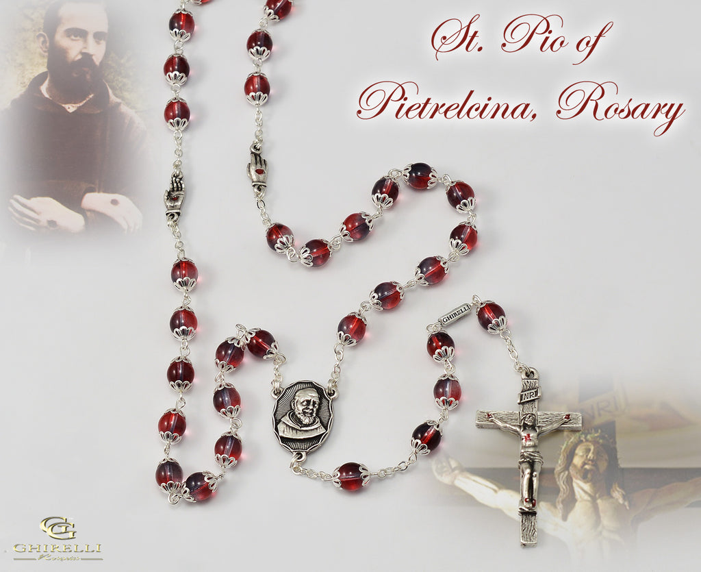 St. Pio of Pietrelcina Special Anniversary Rosary with Red Bohemian Glass Beads