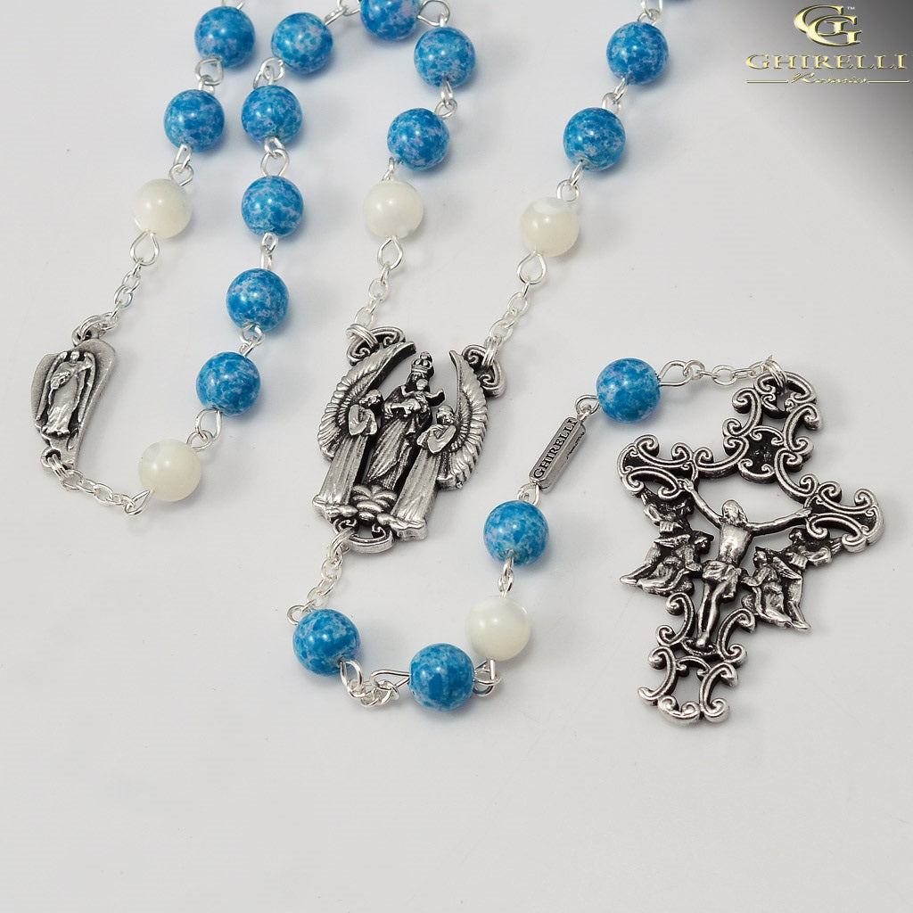 The Rosary of the Holy Angels with Genuine Mother of Pearl Accent Beads
