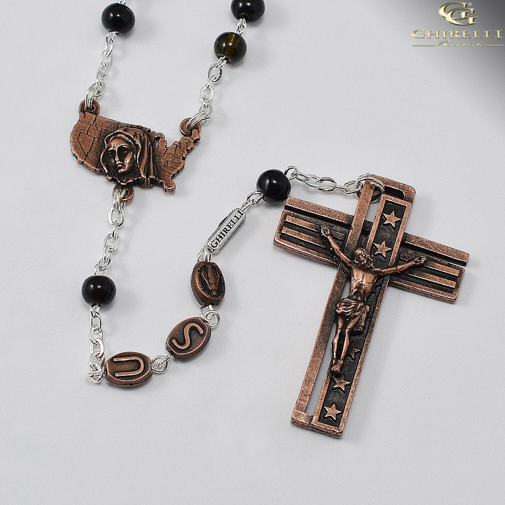 USA Rosary for the National Rosary Rally Coast To Coast - Copper with Black Beads