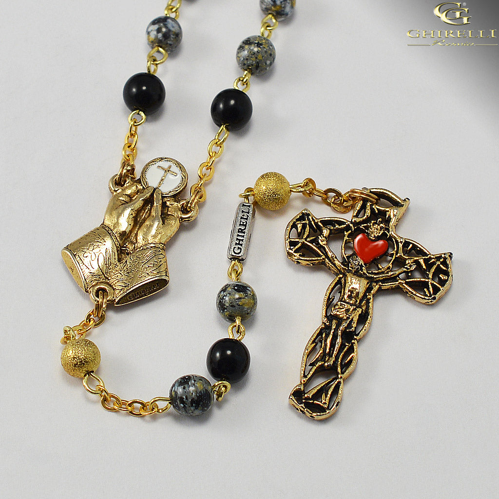 Our Lady of Fatima Rosary with Bohemian Glass by Ghirelli
