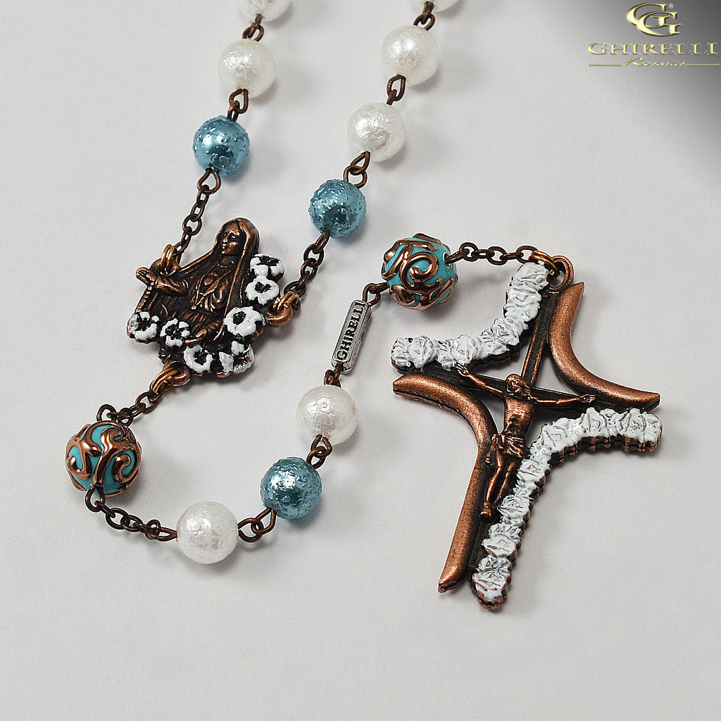 Our Lady of Fatima Rosary with Lumen Glass Beads and Antique Copper by Ghirelli
