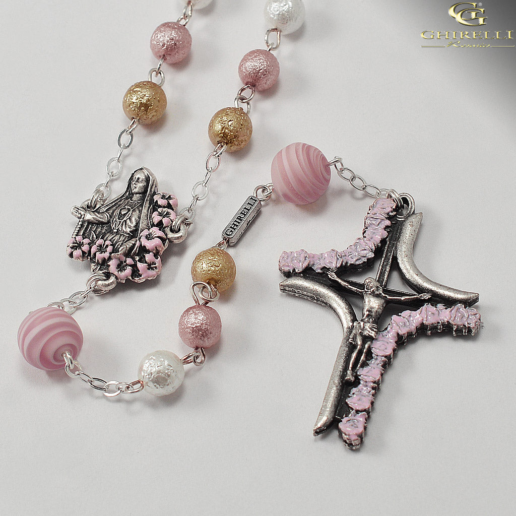 Our Lady of Fatima Rosary with Genuine Murano Glass by Ghirelli