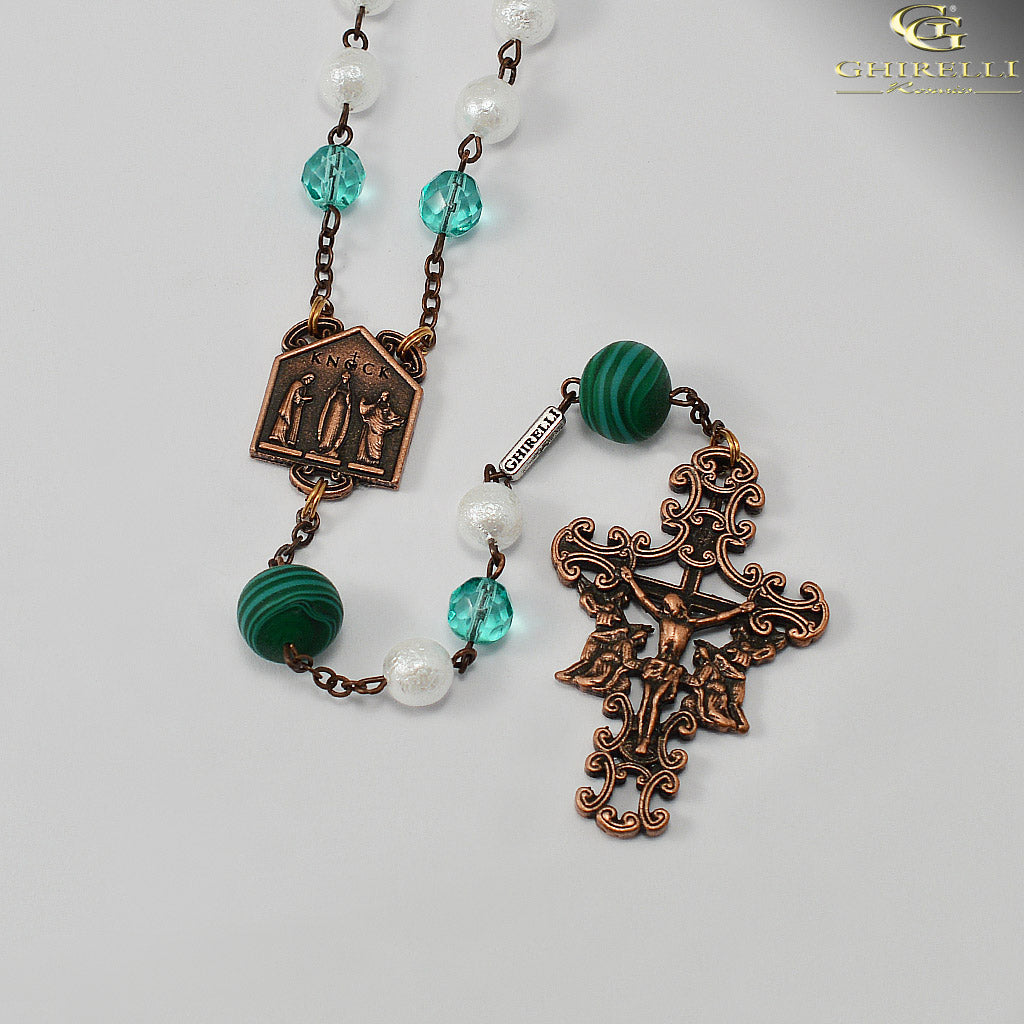Our Lady of Knock Queen of Ireland Rosary with Murano Glass in Antique Copper by Ghirelli