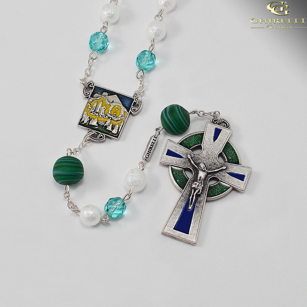 Our Lady of Knock Queen of Ireland Rosary with Murano Glass Beads by Ghirelli