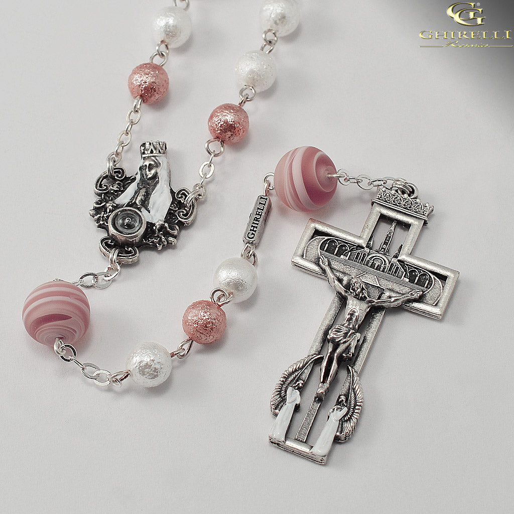 Our Lady of Lourdes 160th Anniversary Rosary with Genuine Murano Glass by Ghirelli