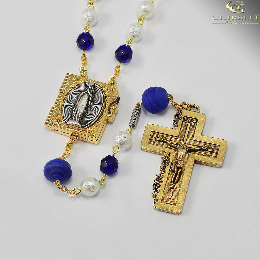 Our Lady of Lourdes Rosary with Genuine Murano Glass Beads by Ghirelli