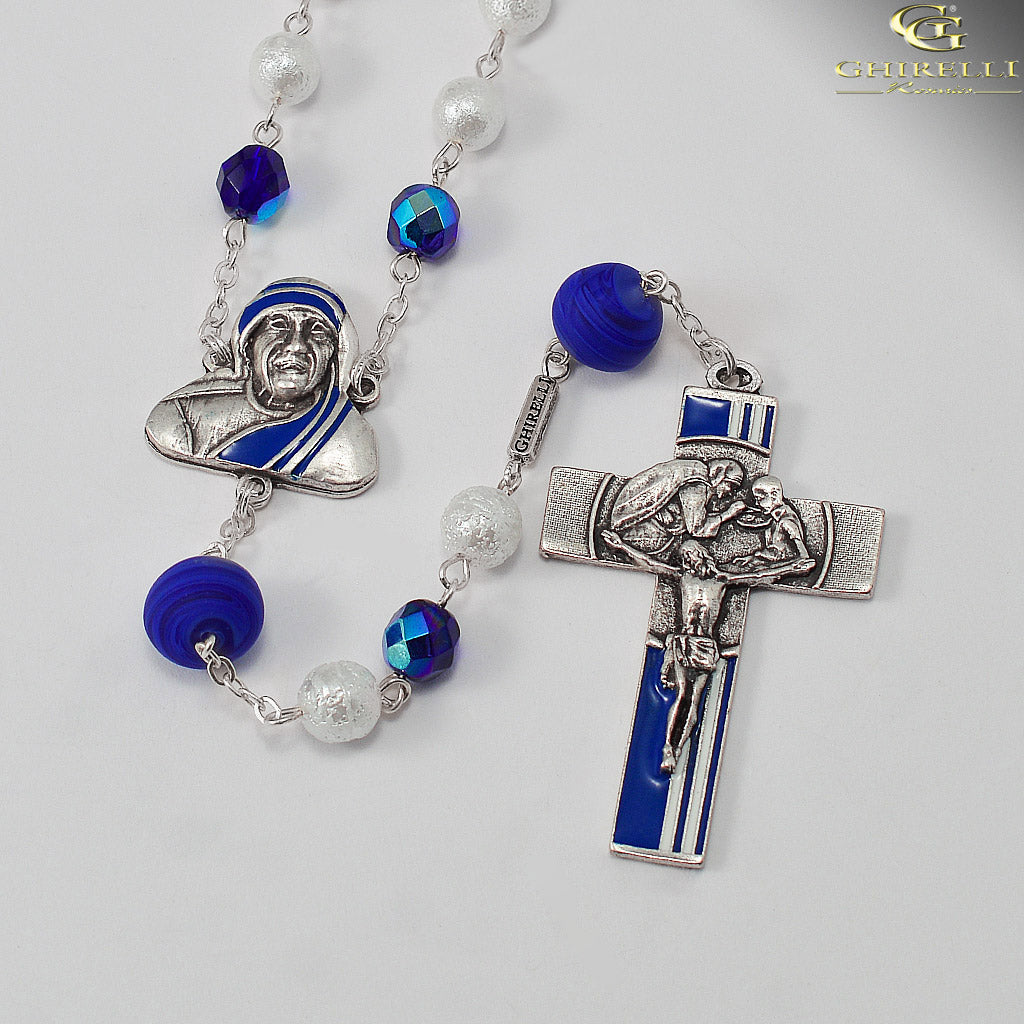 Saint Mother Teresa of Calcutta Rosary with Murano Glass by Ghirelli