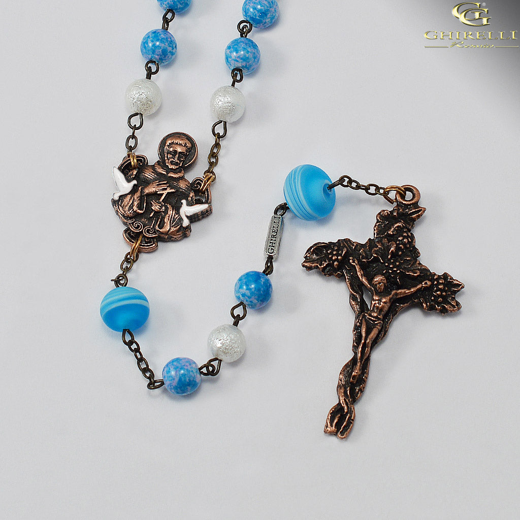 Saint Francis of Assisi Rosary with Murano Glass from Ghirelli