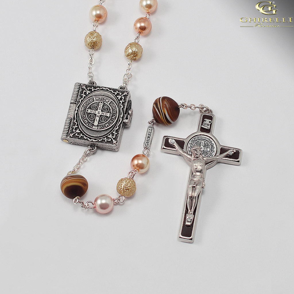 Saint Benedict Rosary with Genuine Murano Glass by Ghirelli