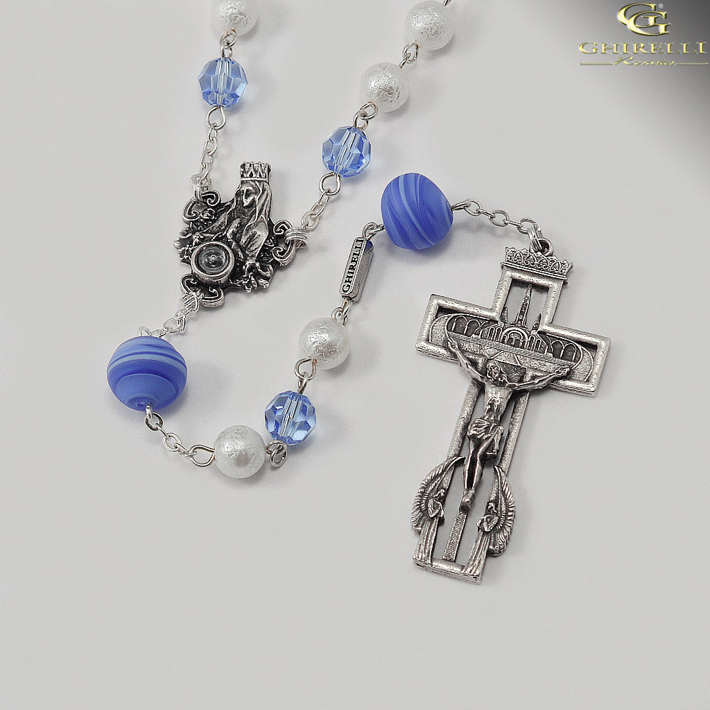 Our Lady of Lourdes Anniversary Rosary with Murano and Swarovski Beads