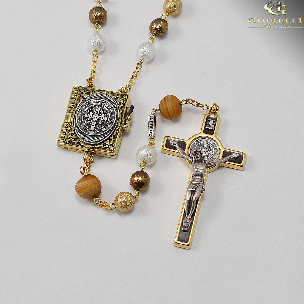 Saint Benedict Rosary with Murano Glass Beads by Ghirelli