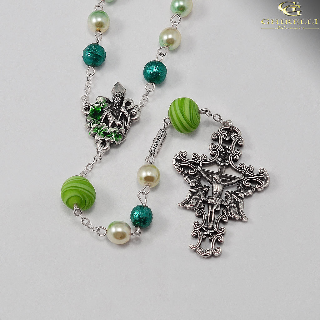 Saint Patrick Rosary in Antique Silver with Murano Glass by Ghirelli
