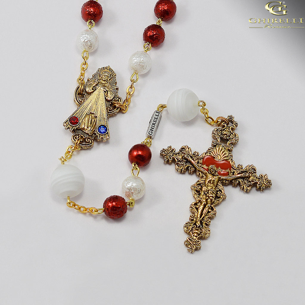 Divine Mercy Rosary with Murano Glass by Ghirelli