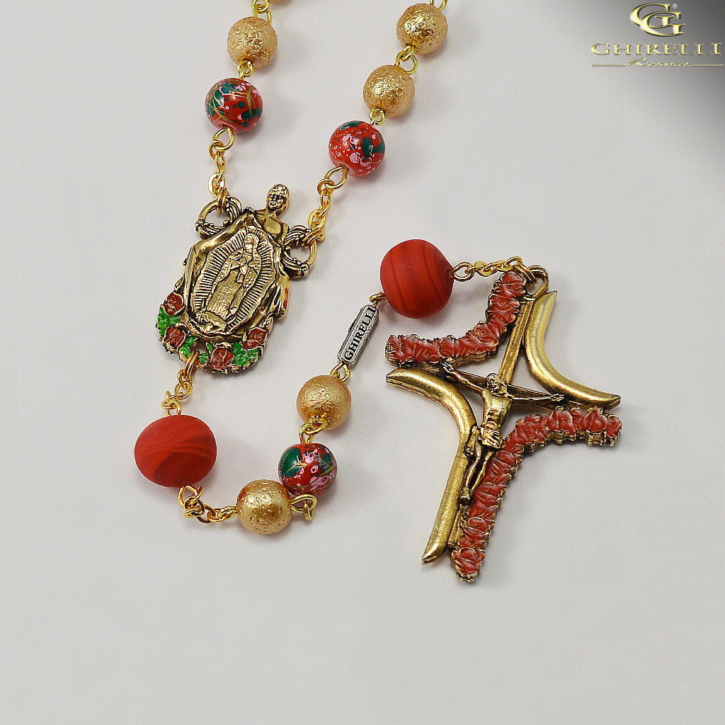 Our Lady of Guadalupe Rosary with Murano Glass by Ghirelli