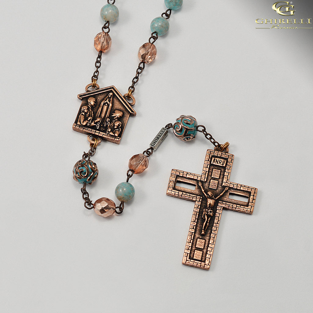 Rosaries for the Family in Antique Copper and Bohemian Glass by Ghirelli