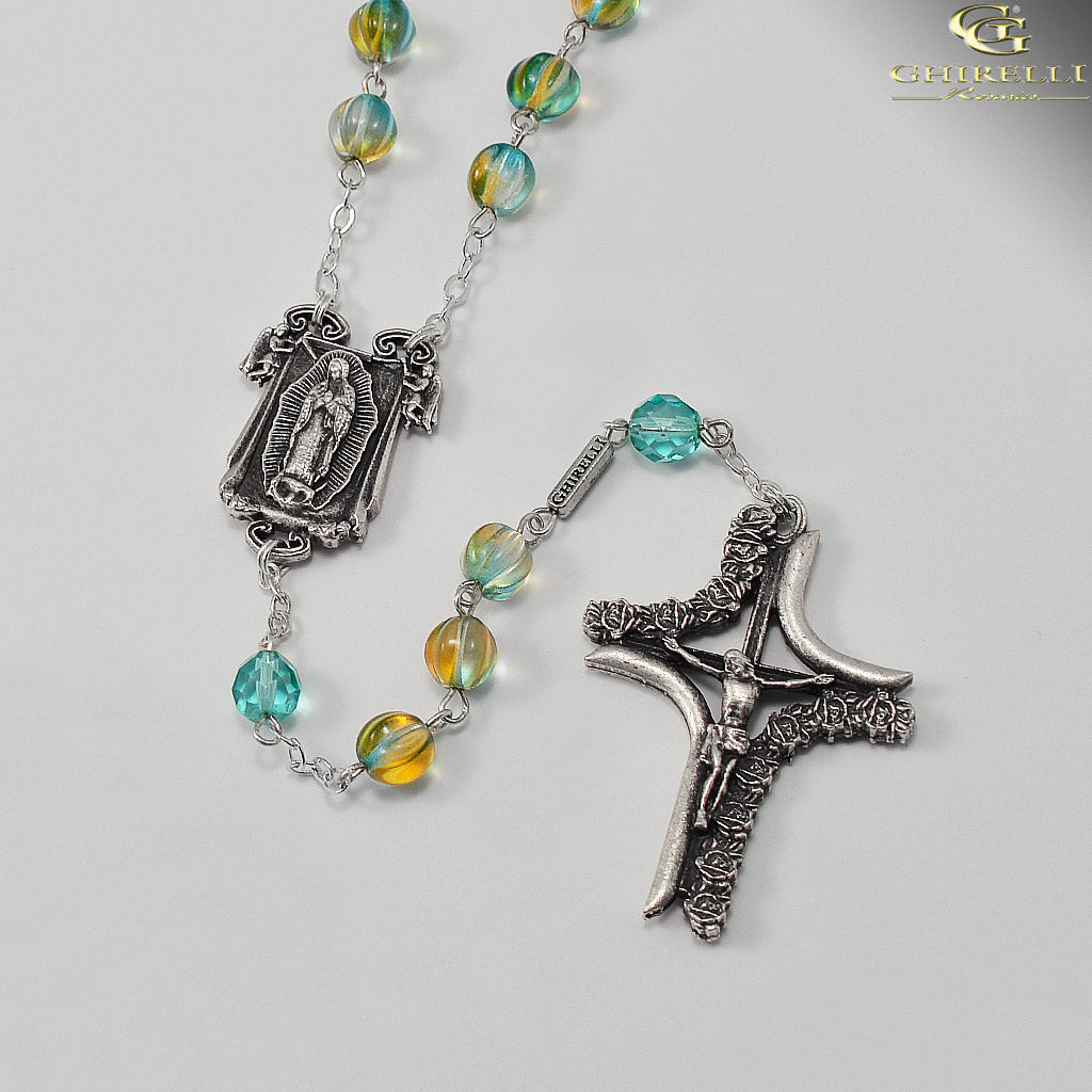 Our Lady of Guadalupe Rosary in Antique Silver by Ghirelli
