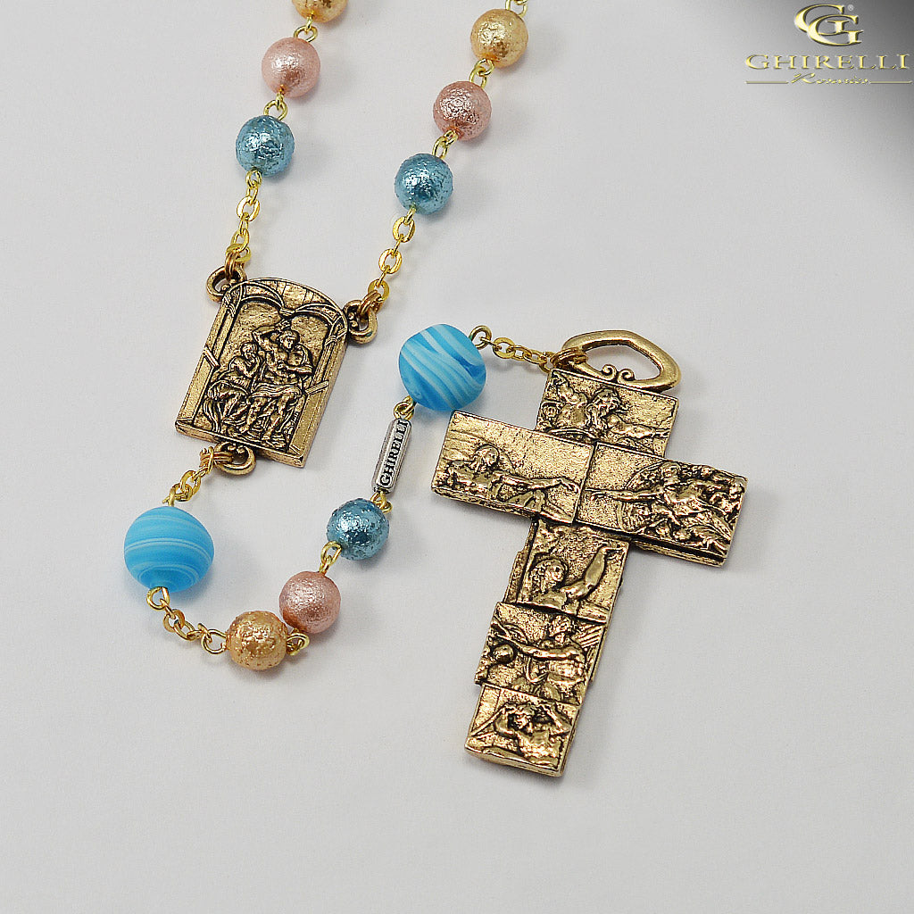 Sistine Chapel Rosary with Genuine Murano Glass in Antique Gold by Ghirelli