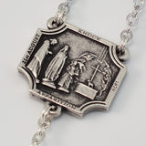 Knock Apparition silver plated Rosary - Ghirelli Rosaries - Rosary Beads For Sale