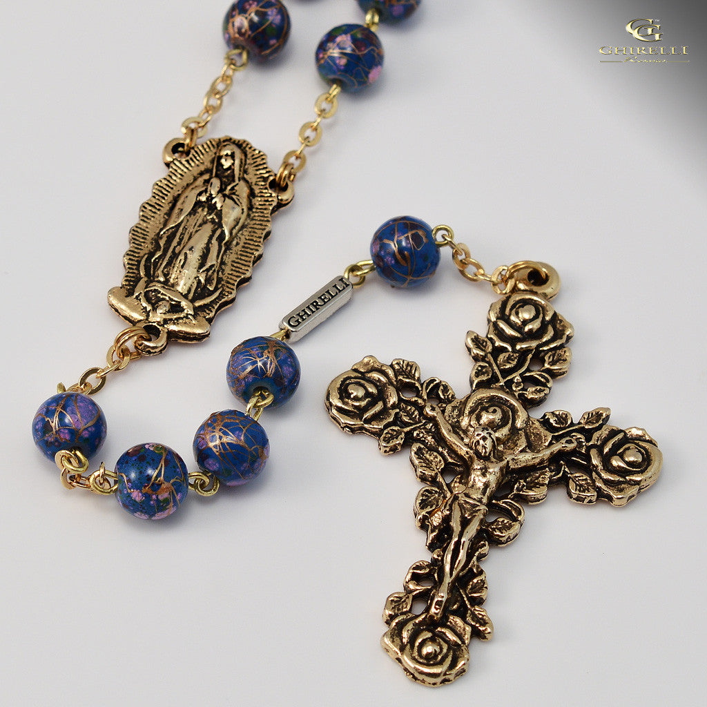 Our Lady of Guadalupe Rosary in antique gold finish by Ghirelli