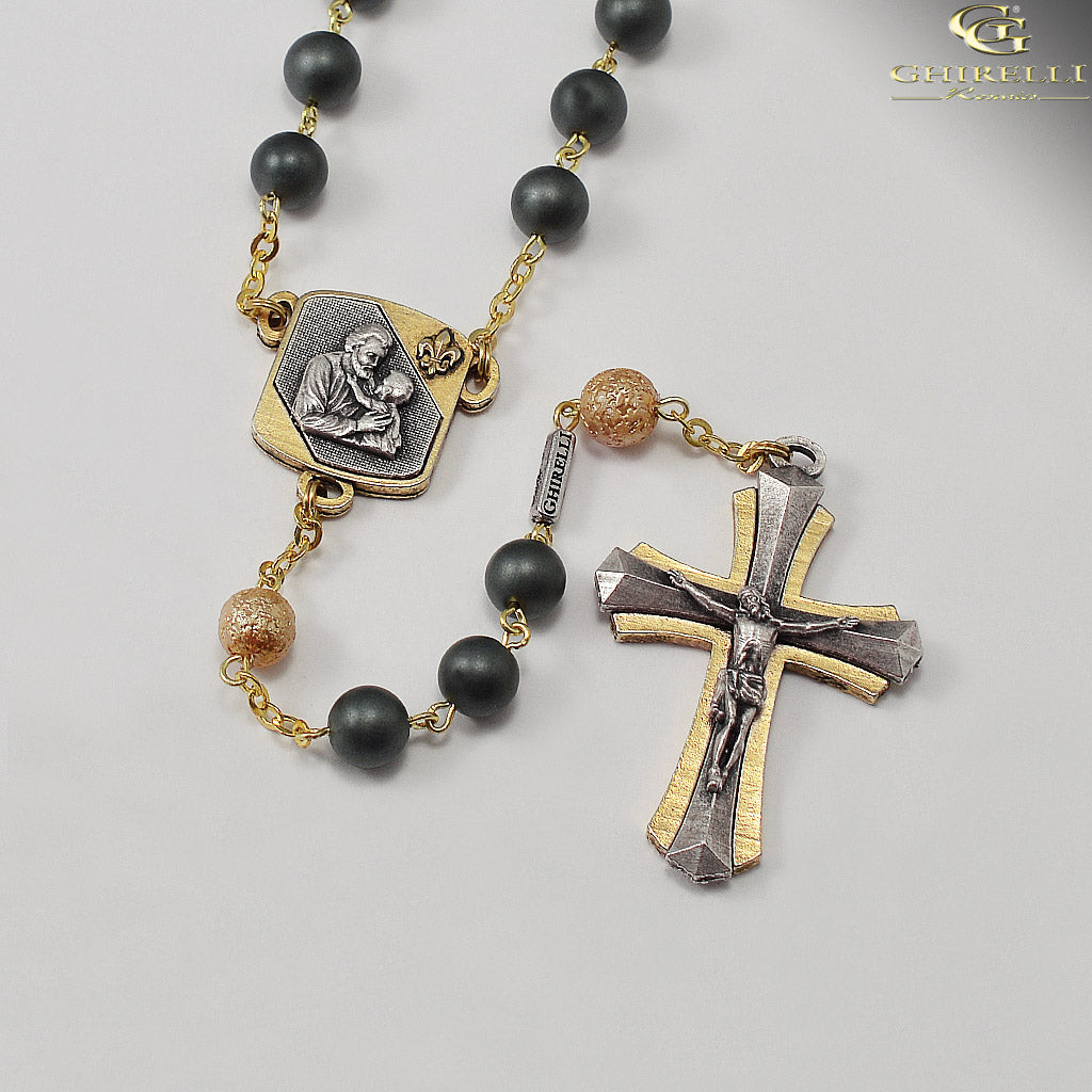 Saint Joseph Rosary in Antique Silver and Gold with Satin Finish Hematite Beads by Ghirelli