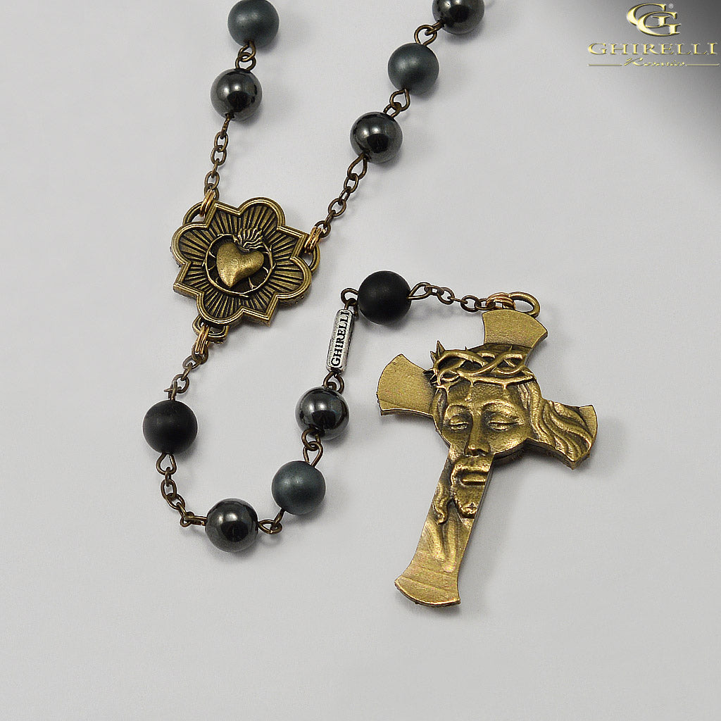 Rosaries for Men in Antique Bronze and Hematite by Ghirelli