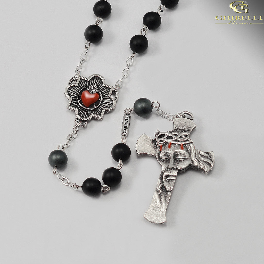 Rosaries for Men in Antique Silver with Hematite Beads by Ghirelli