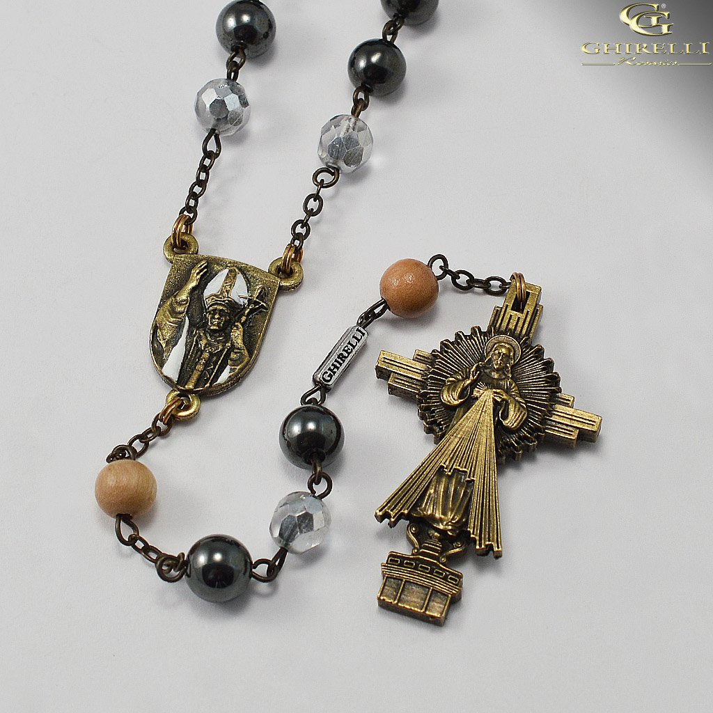Saint John Paul II Rosary in Antique Bronze by Ghirelli