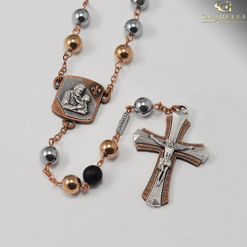 Saint Joseph Rosary in Antique Copper with Hematite Beads by Ghirelli