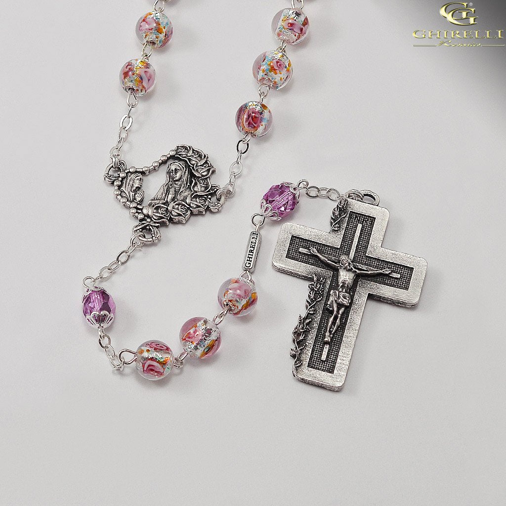 Rosaries for Women with Lumen Beads in Antique Silver by Ghirelli