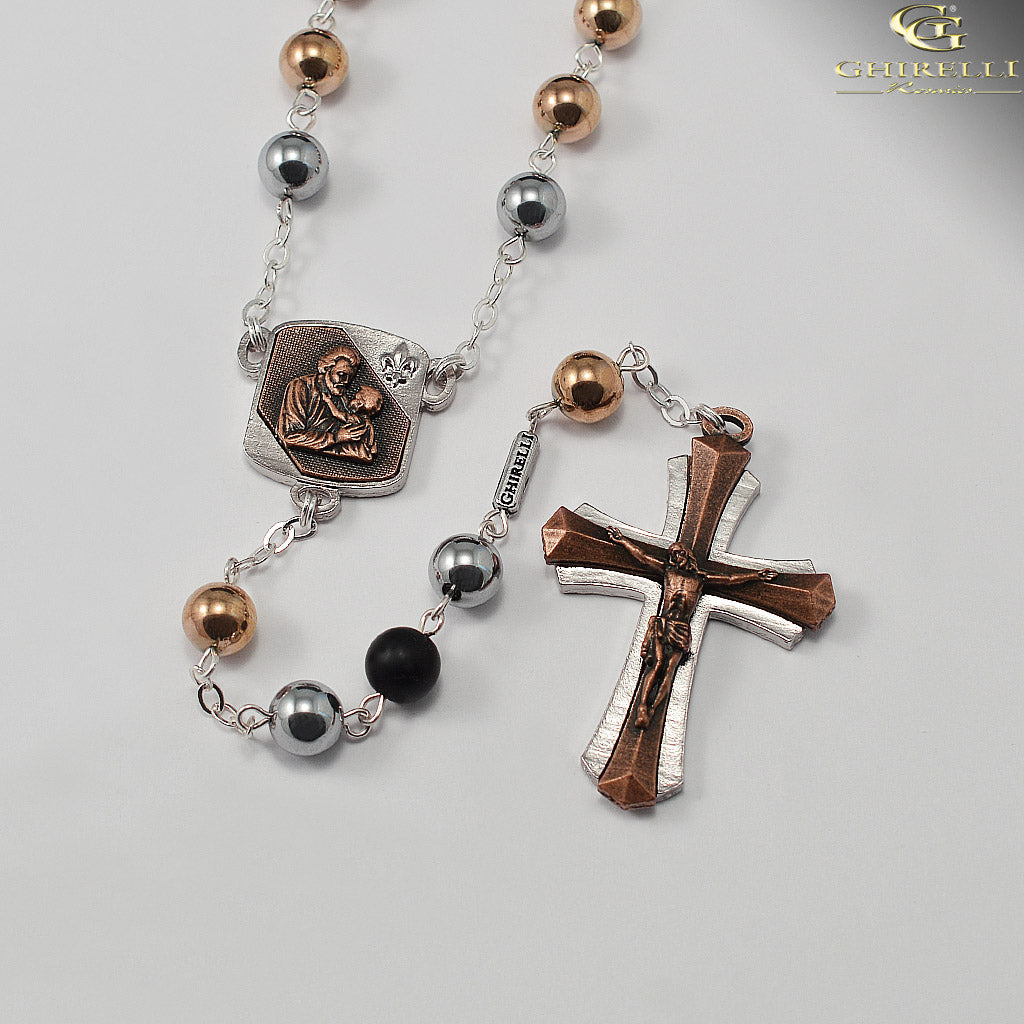Saint Joseph Rosary in Antique Copper and Polished Silver with Hematite Beads by Ghirelli