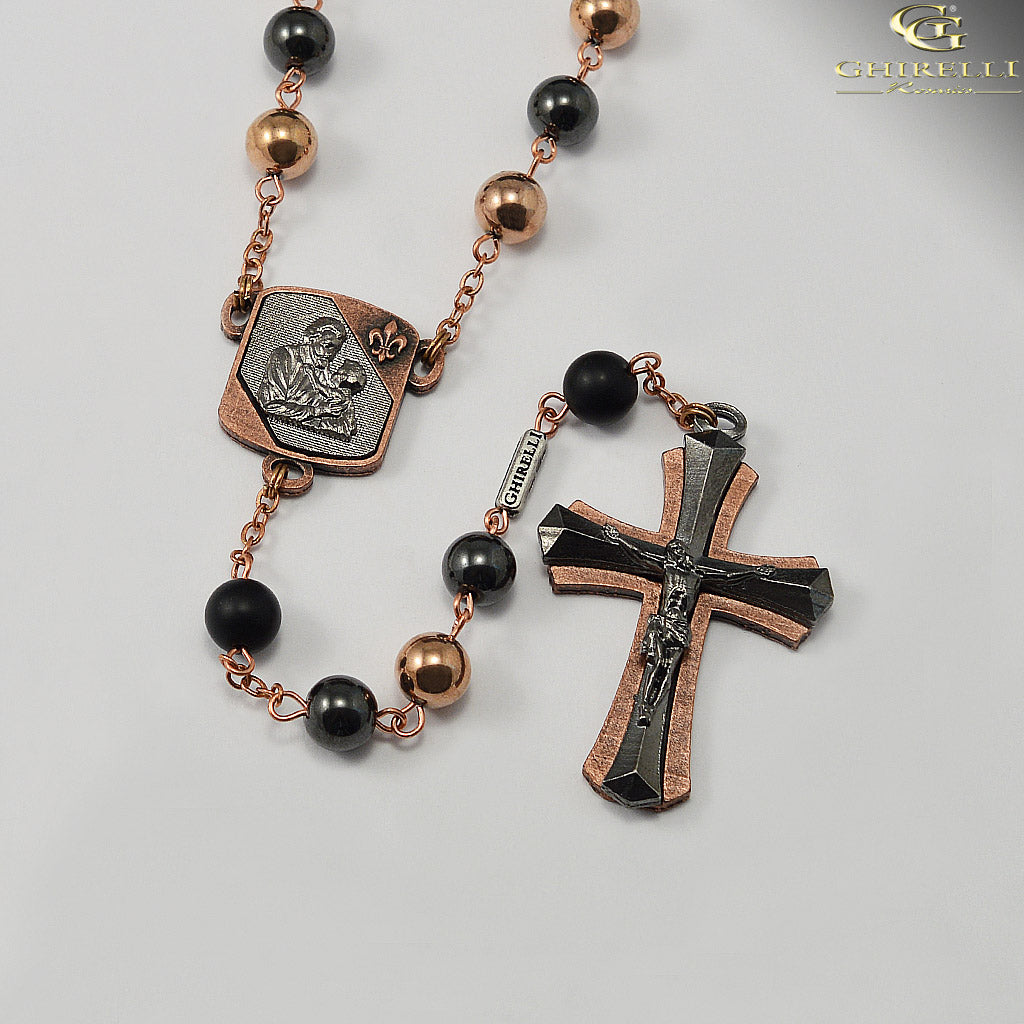 Saint Joseph Rosary for Men in Antique Copper and Gunmetal with Hematite Beads by Ghirelli