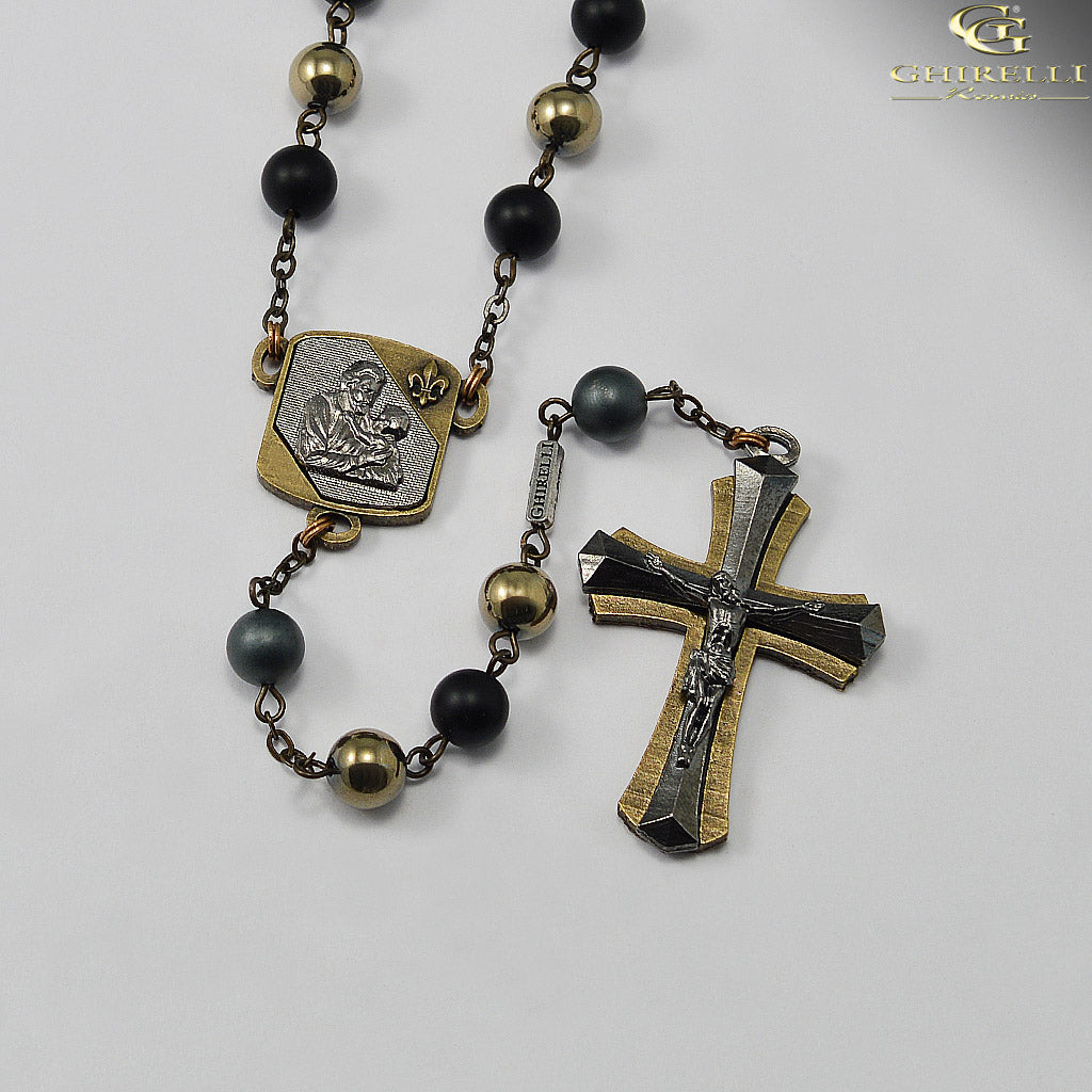 Saint Joseph Rosary for Men in Antique Bronze and Black with Hematite Beads by Ghirelli