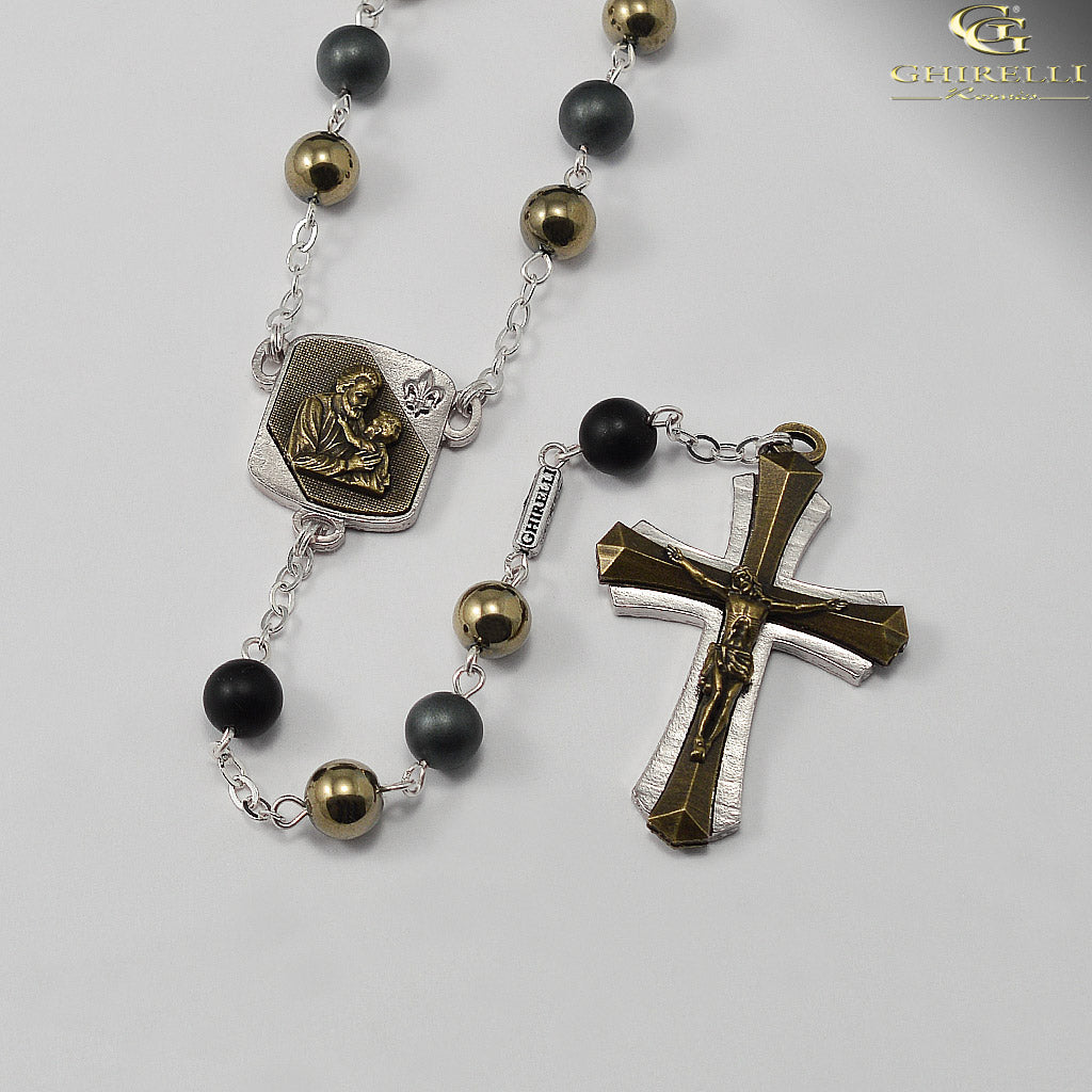 Saint Joseph Rosary for Men in Antique Bronze and Silver with Hematite Beads by Ghirelli