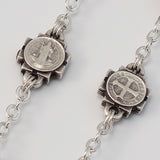 St. Benedict silver plated Rosary - Ghirelli Rosaries - Rosary Beads For Sale
