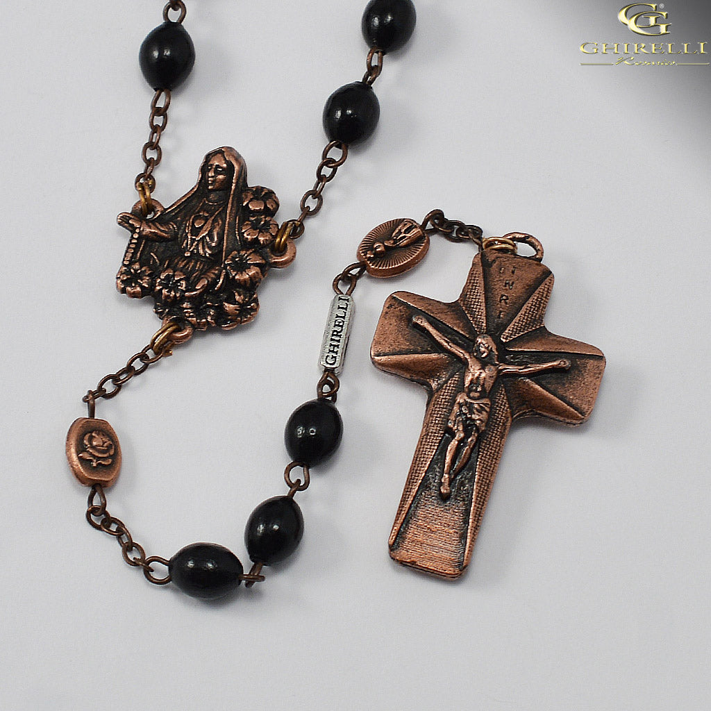 Our Lady of Fatima Rosary with Italian Wood Black Beads by Ghirelli