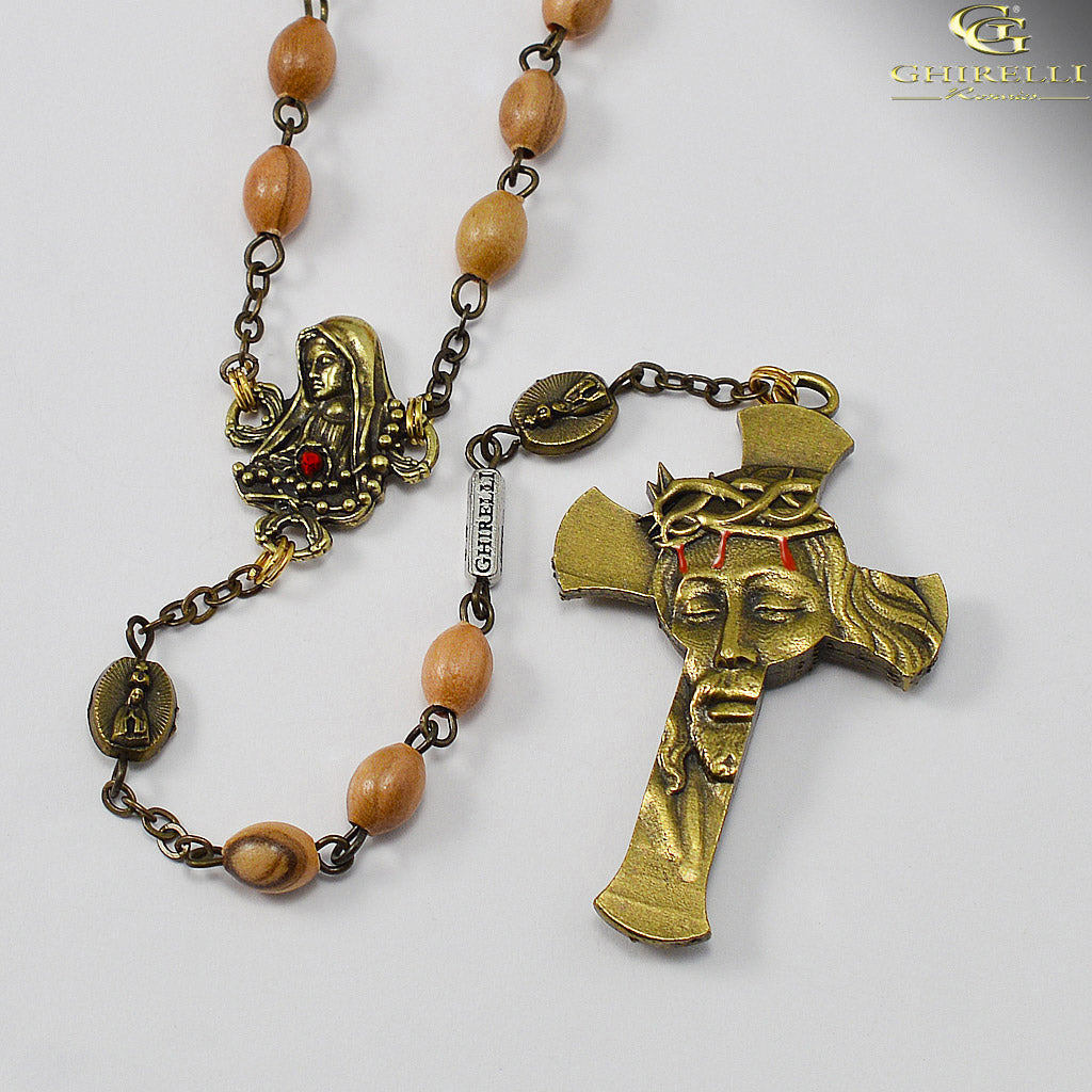 Our Lady of Fatima Rosary with Italian Olivewood Beads in Antique Bronze by Ghirelli