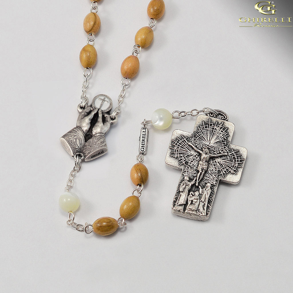 The Holy Mass Rosary with Italian Olivewood and Mother Of Pearl Beads by Ghirelli