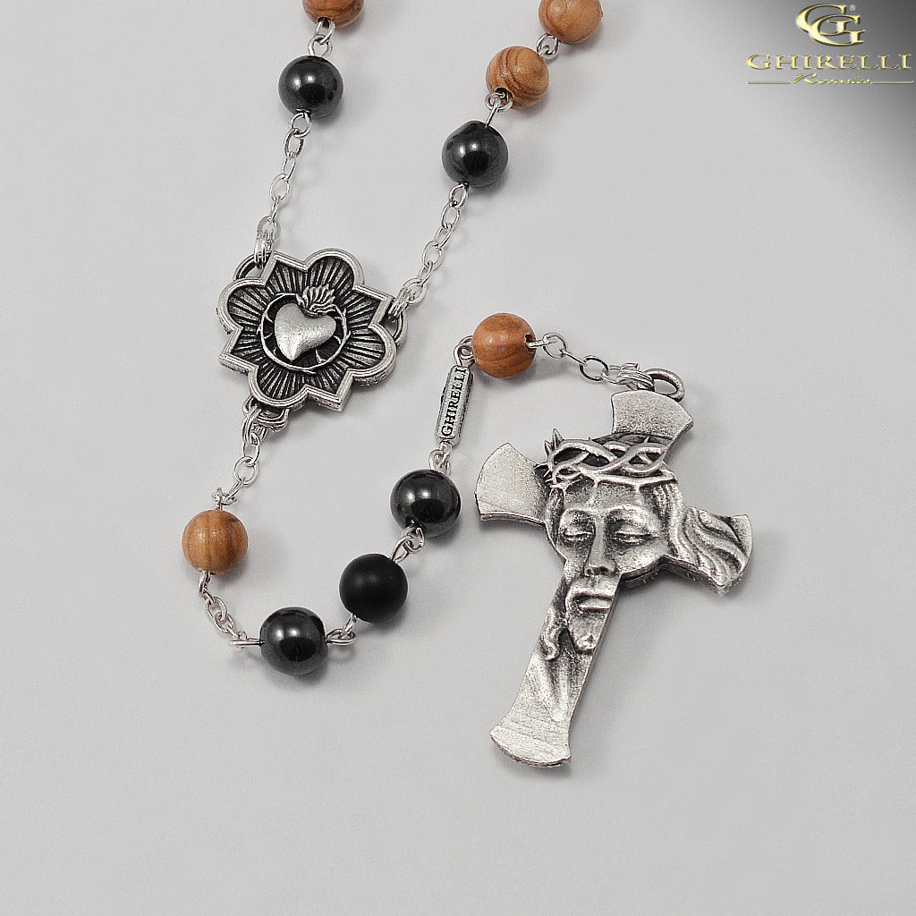Rosaries for Men in Antique Silver with Olivewood Beads by Ghirelli